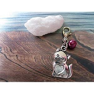 Handmade Anhänger/Charm Katze, Perle Beere- Perlen Farbe und Größe frei wählbar