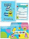 12 Einladungskarten zum 3. Kindergeburtstag blau incl 12 Umschläge / bunte und lustige Einladungen zum Geburtstag für Jungen und Mädchen