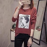 ZYZHjy Ladies Casual Cartoon Camiseta De Manga Larga,Rojo Ladrillo,L