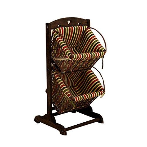 HQQ Einfacher moderner Boden-Speicher-Korb-Gestell-hölzerner Rattan-Korb-mehrschichtiges Lagerregal für Schlafzimmer-Wohnzimmer -