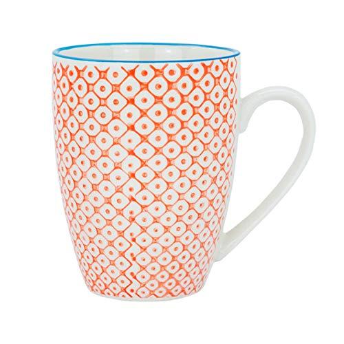 Tasse à café/thé ornée de motifs - 360 ml - imprimé orange/bleu