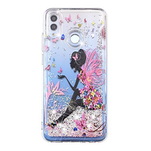 Miagon Flüssig Hülle für Huawei Honor 10 Lite/P Smart 2019,Glitzer Weich Treibsand Handyhülle Glitter Quicksand Silikon TPU Bumper Schutzhülle Case Cover-Schmetterling Mädchen