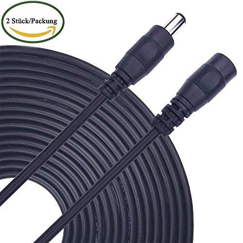 Preisvergleich Produktbild Kabenjee 2X 5m/16.4ft DC Netzteil Verlängerungskabel,5.5mm x 2.1mm DC Verlängerung Verbinder Draht für LED Streifen,CCTV Überwachungskameras,Auto,Monitore-Ip Kamera DVR,AHD,DC Stromkabel Verteiler