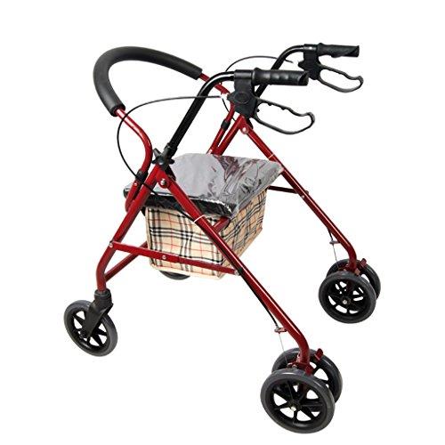 Einkaufstrolleys Senioren Einkaufswagen Senior Cart Scooter Roller Aluminiumlegierung Lebensmittelgeschäft Cart Vierbein Krücken Walker (Color : Red, Size : 80*65*50cm)