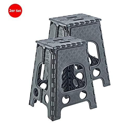 Milanino 2er Pack Tritthocker | Sitzhocker | Klapptritt | Klapphocker | Campinghocker (groß, grau)