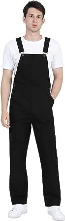 DISHANG Men's High Back Bib Overall with Adjustable Shoulder Straps and Multiple Functional Pockets