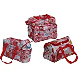 Annapurna Sales Baby Diaper Bag With Bottle Warmers Or Baby Diaper Bag For Mother Or Baby Accessories Bag Or Nappy Changing Bag With 2 Bottle Warmers Combo Set Of 3 Pcs. - Red (Unisex)