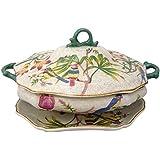 Better & Best 1395470 - Sopera de cerámica con plato, decorada con pájaros y flores de colores