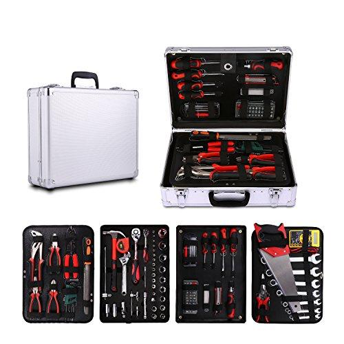 Acecoree Alu-Werkzeugkoffer inkl. Werkzeug-Set, 114-teilig, gefüllt, Robust und Hochwertig, Ideal für Den Haushalt Oder die Garage, im stabilen Alu-Koffer (Datei 2 Sockel)