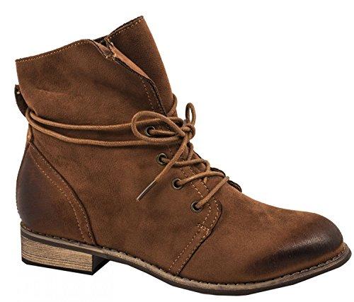 Elara Damen Stiefeletten | Bequeme Chukka Boots | Trendig Kurzschaft Wildlederoptik Camel