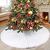 NTMY Faldas para el Árbol de Navidad Blanco Piel sintética Felpa para Navidad/Año Fiesta/Decoración del Hogar