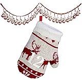 Weihnachtskalender Handschuhe / Dekorationsartikel / Strickmuster mit vielen weihnachtlichen Details: Elche, Tannen, Schneeflocken / ca.250cm lang / Handschuh ca.13cm / Trendyshop365