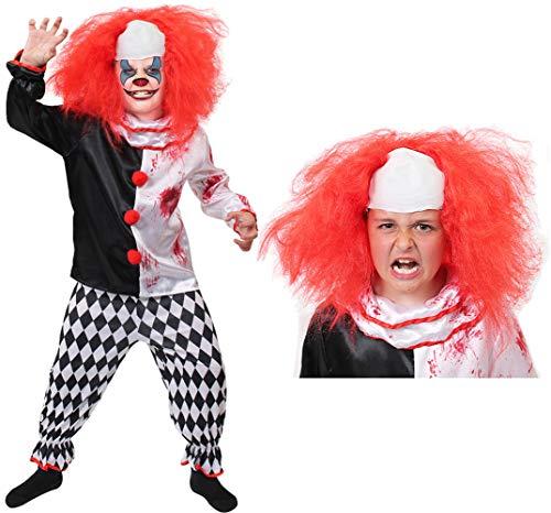 B-Creative Childs Killer Clown Kostüm Jungs Mädchen Horror BEÄNGSTIGEND Halloween Fancy Kleid (XL 12-13 Y/O) (Kostüm, Perücke und Kostüm und (Mädchen Killer Clown Kostüm)