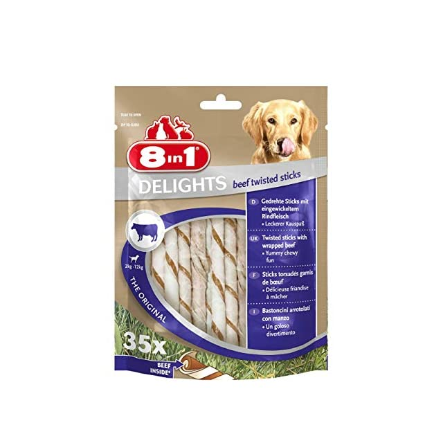 8in1 Delights Twisted Sticks B½uf 35 Bâtonnets