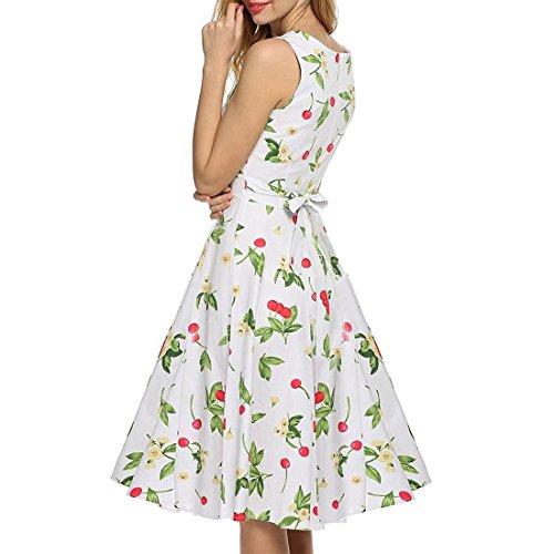 MALLTY Frauen 50er Jahre Boatneck ärmellose Vintage Tee Kleid Cocktail Maxi Kleid Sommer mit Gürtel S/M/L/XL / 2XL (Color : White, Size : XL)