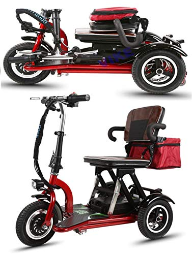 CYGGL Mini Triciclo Elettrico Pieghevole Anziani e disabili, Motore 350 W - Peso corporeo 26 kg - Carico 120 kg - Chilometraggio Massimo 30 km legale