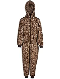 Camille Childrens Unisex Brown Caramel Leopard Hooded Fleece Onesie