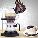 KITCHY New Adjustable Manual Drip Coffee Maker Resin Ceramic Coffeemaker Drip Coffee Filter Cup Pot Kit Glass Pour-Over Coffee Drip Pot