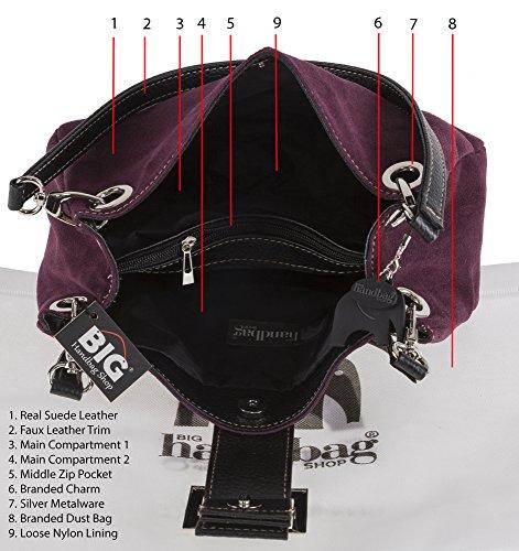 Big Handbag Shop ital. Damentasche Handtasche Tragetasche Henkeltasche Ledertasche Wildleder Klein 28x18x11 cm (BxHxT) Black (K104) - Black Trim