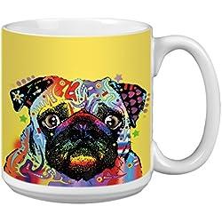 "Árbol de-free XM63194 20 oz de felicitación L-XL ""Puglorious"" con diseño de barco Dean Russo de perro polvos de cerámica taza de café"