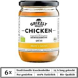 Grizzly Snacks Biologische Hühnerbrühe aus Deutschland (6x500ml) 24 Stunden gekocht Wertvolle Nährwerte Bone Broth Knochenbrühe Mom's Secret