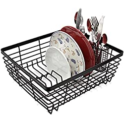 esylife fregadero de cocina escurreplatos grande estante para platos Escurridor para cubiertos con cesta de almacenamiento para utensilios, color negro