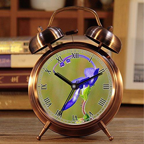 alarmclock Wecker, Retro Portable Twin Bell neben Wecker mit Nachtlicht 185.Blue Curls Blume (Profil) (5043331107)