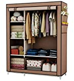 UDEAR Canvas Wardrobe Portable Wardrobe, Free Standing Closet ,Clothes Storage Organizer, Brown ,105