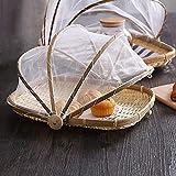 Tovaglietta per Alimenti Coperta a Mano Rivestita di bambù a Prova di Cibo Cesto con vassoi di Verdura Vassoio di Copertura per Il Pane all'aperto Tenda da Picnic