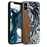 kwmobile Coque Apple iPhone XS Max - Étui de Protection Rigide en Bois pour Apple iPhone XS Max - Blanc-Noir-Marron