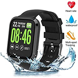 Montre Connectée Smartwatch Fitness Trackers d'activité avec Cardiofréquencemètres,Moniteur de Sommeil,Podomètres, Notifications d'appel Etanche IP67 Calorie Step Counter pour iOS Android Femme Homme