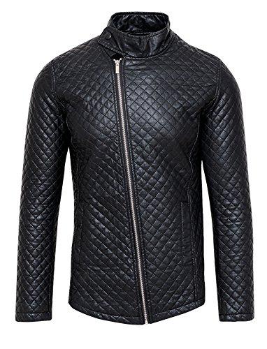 Giubbotto giacca uomo nero ecopelle casual slim fit giubbino moto taglia s m l xl (l)