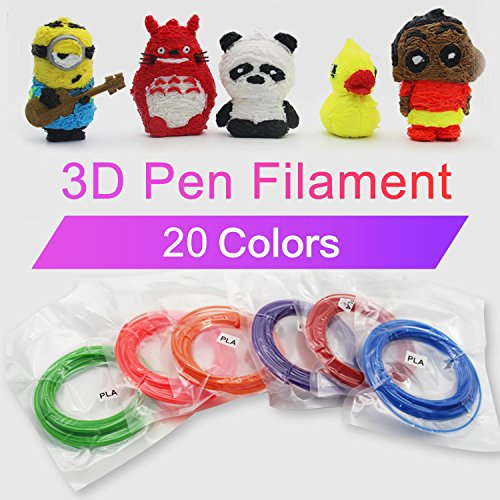 3D Stift Filament PLA, 20 Farben, je 10M – 3D Pen PLA Filament 1,75mm, 3D Stift Farben Set für ODRVM, Tecboss, Lovebay, 3D Stift and 3D Druck Stift - 6