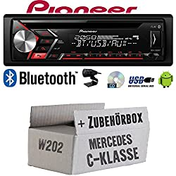 Autoradio Radio Pioneer DEH-S310BT - Bluetooth | CD | MP3 | USB | Android Einbauzubehör - Einbauset für Mercedes C-Klasse JUST SOUND best choice for caraudio