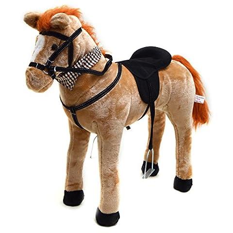 Cheval Marie en position debout de la marque Pink Papaya, cheval-enfant 75 cm cheval en peluche, cheval-jouet haute qualité sur lequel on peut s´asseoir, avec des sons différents, y inclus petite brosse