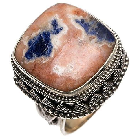Stargems (TM) Naturel Bleu marine sodalite ancien Motif fait à la main mexicain Bague en argent sterling 925, taille N 1/2
