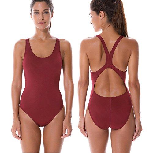 SYROKAN Damen Einteiler Sports Badeanzug - Essential Endurance Bademode Weinrot 34 inch (Endurance Bademode)