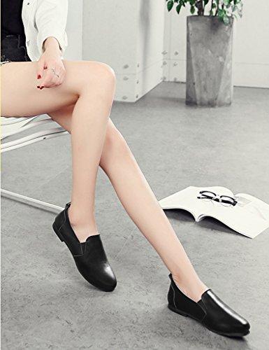 HWF Scarpe donna Scarpe da donna primaverili Scarpe stile inglese in pelle piatte mono-pedali scarpe pigri femminili ( Colore : Bianca , dimensioni : 37 ) Nero
