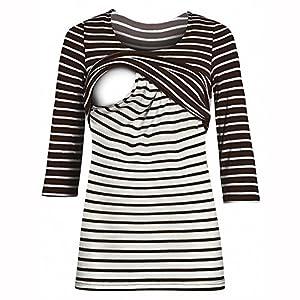 TUDUZ Damen Maternity Stillshirt Langarmshirt O-Ausschnitt, Stillshirt & Umstandsshirt/Stilltop & Umstandstop