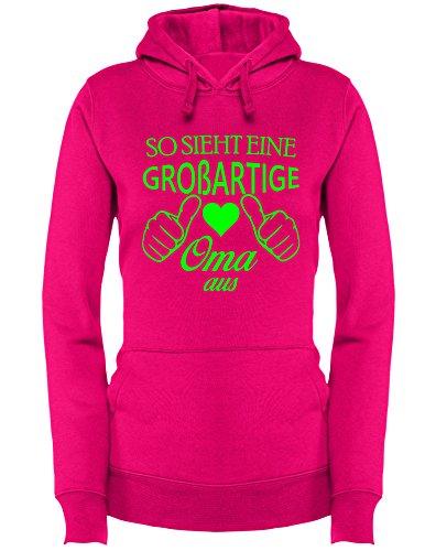 So sieht eine großartige Oma aus - Damen Hoodie Fuchsia/Neongruen