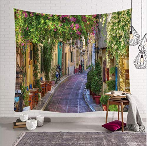 European Tapestry Heidelberg Old City Streets Picturesque Town with Medieval Architect Panorama Wall Tapestry-200X150CM - Street Wall Tapestry
