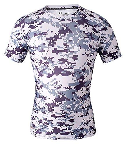 Cody Lundin® Herren Fitness Mosaik Camo Kurzarm Hemd Sport Kompression Kurzes Ärmel T-Shirt Drucken Tarnkleidung (L, Grau Mosaik) (Camo Grau Kurzarm T-shirt)