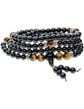 COAI® 108 6mm Onyx und 8mm Tigerauge/ Rotes Tigerauge Wickelarmband mit Fransen Mala Kette Halskette für Damen...