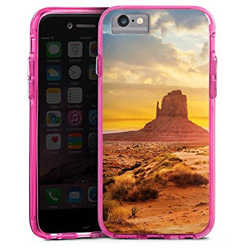 Apple iPhone 6 Plus Bumper Hülle Bumper Case Glitzer Hülle Sonnenuntergang Amerika America Bumper Case transparent pink