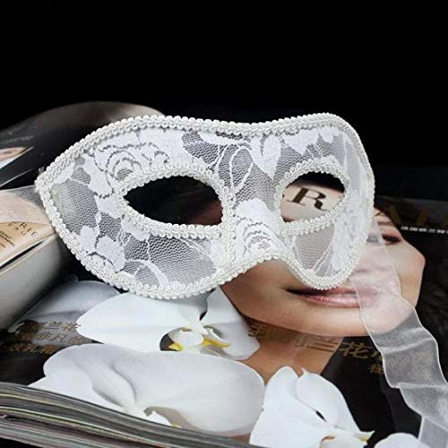 Zorux Augenmaske für Damen, sexy Spitze, für Halloween, venezianische Kostüme weiß (Frauen Oper Kostüm Phantom Der)