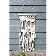 Boho macramé para colgar decoración de la pared: decorativo pared arte Cable de cuerda de algodón tejido tapiz decoración para el hogar para la sala de estar dormitorio de cocina o apartamento