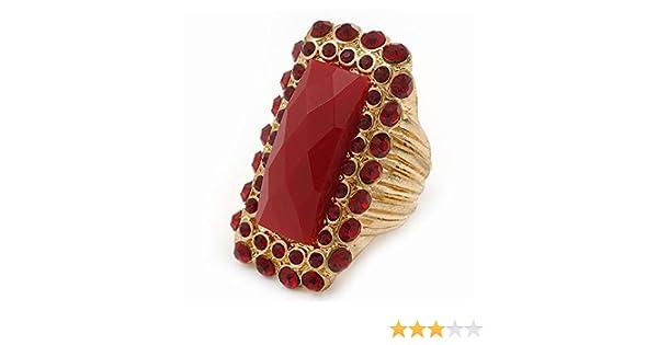Bague de cocktail flex diamante perle acrylique rouge carr/é en plaqu/é or largeur 35 mm