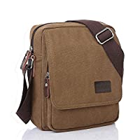 Artone Men's Water Resistant Canvas Crossbody Messenger Bag Khaki