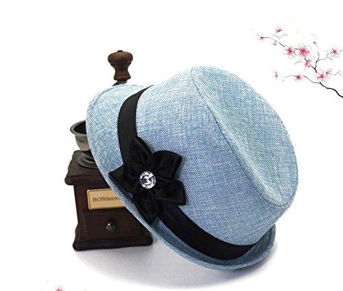 Fenghezhanouzhou New Baumwolle und Leinen Herz fünf Blütenblätter Hut Vier Jahreszeiten Elegante und ruhige Damen Leinenhut (Color : Blue) -