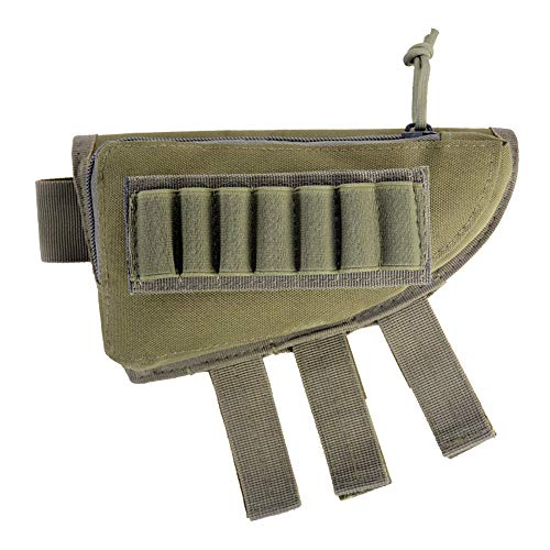guang Gewehr Hinterschaft, Jagdschießen Tactical Cheek Rest Pad Munitionsbeutel mit 7 Shells Holder,A -
